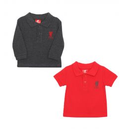 LFC KIDS BOY BABY 2-PACK POLOS CHARCOAL / RED