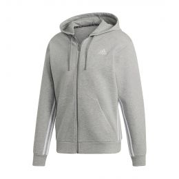 ADIDAS MEN MUST HAVES 3-STRIPES HOODIE JACKET GREY