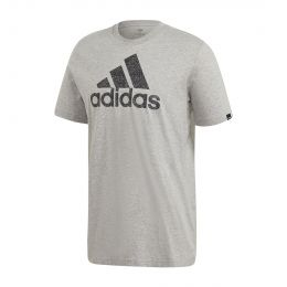 ADIDAS MEN TEXTURED LOGO TEE ROUND NECK GREY
