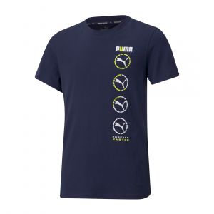 PUMA KIDS ACTIVE SPORTS GRAPHIC YOUTH TEE ROUND NECK NAVY